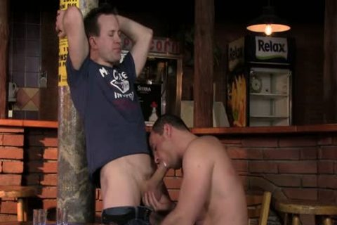 A wonderful oral stimulation With Two dudes At A homosexual Bar