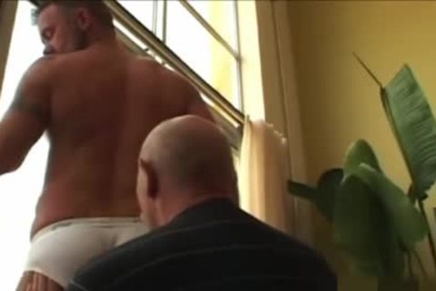 older chap shoots his load In The dong-sock whilst slamming A Daddy