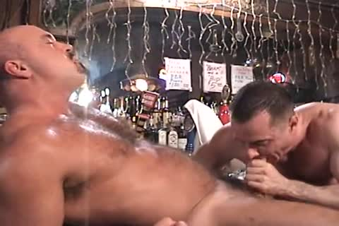 Muscle husband group-sex Each Other In The Keister In The Bar.