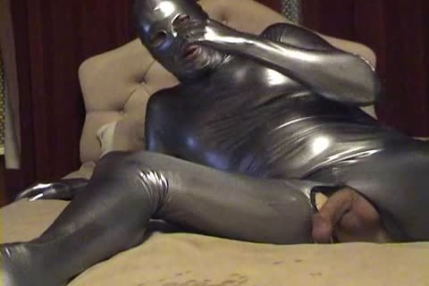 Silver Spandex Catsuit - fake penis, jack off And cum Zentai