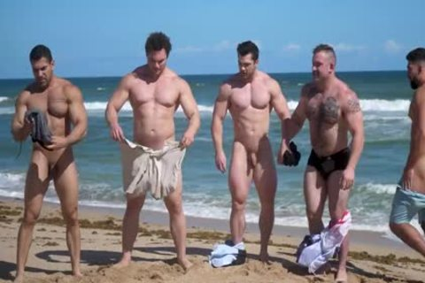 Muscle men bare Beach